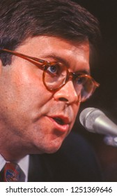 WASHINGTON, DC, USA - NOVEMBER 12, 1991:  William Barr, nominee for U.S. Attorney General, appears before Senate Judiciary Committee.