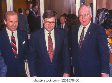 WASHINGTON, DC, USA - NOVEMBER 12, 1991:  William Barr, nominee for U.S. Attorney General, center, Senate Judiciary Committee hearing. Left Senator Joseph Biden. Right, Senator Patrick Leahy.