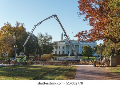 WASHINGTON, DC, USA - November 12, 2016: Crews build the reviewing stand in front of the White House for the upcoming Inaugural Parade.