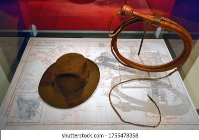 Washington, D.C., USA - November 14, 2017: Whip and fedora-style hat, which Harrison Ford wore in his role as Indiana Jones in the 1989 movie Indiana Jones and the Last Crusade.