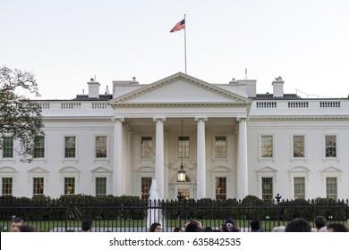 Washington DC, USA - November 15, 2015: View of the White House in Washington DC, USA with tourists.