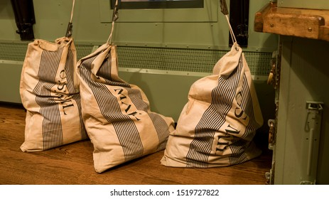 Washington DC, USA - November 24, 2018: U.S. mail bags seen in a mail train.