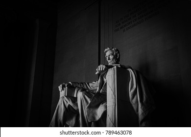 Washington, DC / USA - November 26, 2017: The Lincoln Memorial sitting watch over the National Mall in Washington, DC, fall of 2017