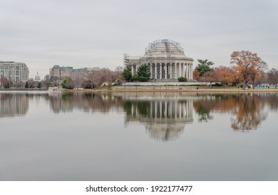 Washington DC, USA - November 30, 2019: Jefferson Memorial reflecting in Tidal Basin