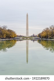 Washington DC, USA - November 30, 2019: US Washington Monument reflecting in a pond calm water surface with dry trees around