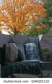 Washington D.C., USA, November 4, 2017: Waterfall at the Franklin D. Roosevelt Memorial