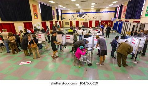 WASHINGTON, DC, USA - NOVEMBER 4, 2008: People voting on presidential election day.
