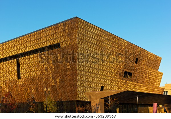 WASHINGTON DC, USA - NOVEMBER 5: Smithsonian National Museum of African American History and Culture at sunset on November 5, 2016 in Washington DC.