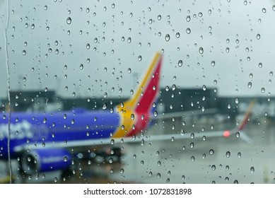 Washington, DC, USA, November 7, 2017: Southwest Airlines plane in the rain