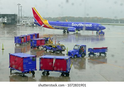 Washington, DC, USA, November 7, 2017: Southwest Airlines plane in the rain