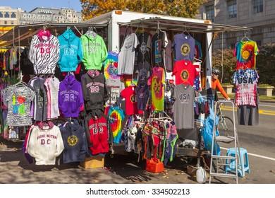 WASHINGTON, DC USA - NOVEMBER 9, 2011: Vendor's shirts and sweatshirts souvenirs.