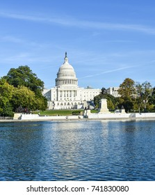 Washington D.C., USA Oct. 23, 2017 : United States of America Capital Building and Reflecting Pool.  This meeting place for Senate and House of Representative lawmakers is in the news daily.