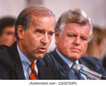 WASHINGTON, DC, USA - OCTOBER 11, 1991: Senator Joseph Biden, Chairman U.S. Senate Judiciary Committee, left, and Senator Ted Kennedy, during Supreme Court nominee Clarence Thomas hearings.