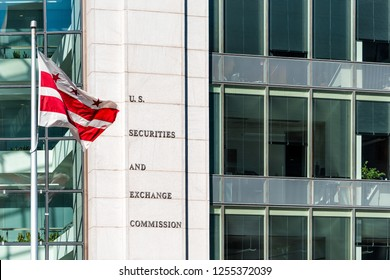 Washington DC, USA - October 12, 2018: US United States Securities and Exchange Commission SEC architecture modern building sign, logo, flag, glass windows