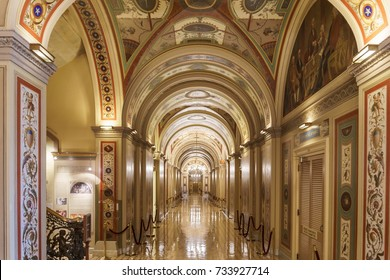 WASHINGTON, DC, USA - October 13, 2017: The Renaissance-inspired Brumidi Corridors in the United States Senate have just been restored to their original brilliance.