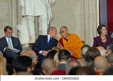 Washington DC, USA, October 17, 2007 President George W Bush sits with the 14th Dalia Lama of Tibet  in the rotunda of the US Capitol prior to presenting him with gold medal award