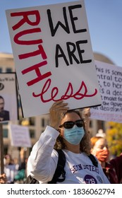 """Washington D.C./ USA - October 17th, 2020 - Count On Us Women's March 2020: Female at Women's march holding a sign for RBG saying """"We are ruthless"""""""