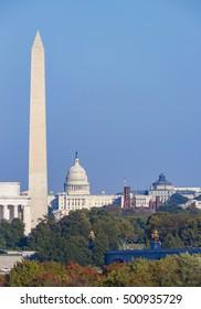 WASHINGTON, DC, USA - OCTOBER 18, 2016: Lincoln Memorial, Washington Monument, U.S. Capitol (L-R).