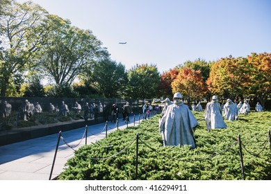Washington DC, USA - October 19, 2015: Stainless Steel Statutes of soldiers in Korean War Veterans Memorial, Washington DC.