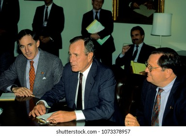 Washington DC, USA, October 2, 1990President George H.W. Bush meets in the cabinet room of the White House with GOP congressmen to twist their arms to agree on a budget bill