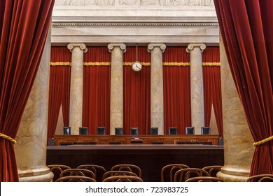 WASHINGTON, DC, USA - October 2, 2017: The U.S. Supreme Court is back to a full 9-Justice bench this Term after the confirmation of Justice Gorsuch.