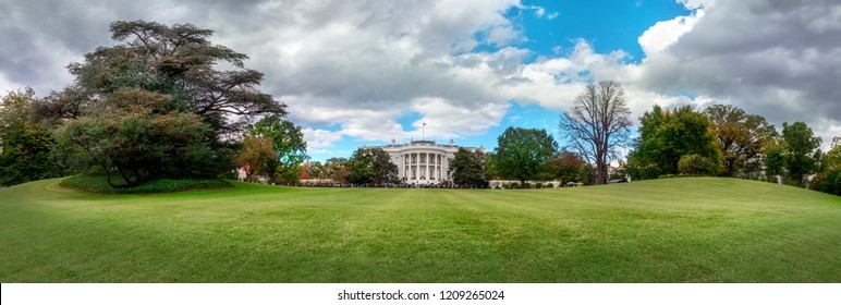 Washington DC, USA - October 20, 2018: Tourists during White House Garden Tour, residence of the United States President, in the city of Washington DC, USA.