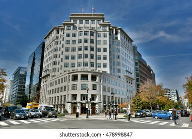 WASHINGTON D.C., USA - OCTOBER 22, 2015. Street view in Washington, with building, people and street traffic.