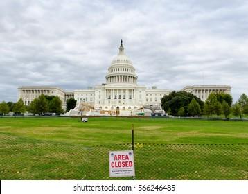 WASHINGTON DC, USA - OCTOBER 22, 2016: Capitol hill panorama during construction taken at daylight