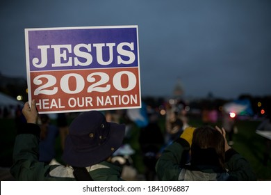 """Washington, DC / USA - October 25, 2020: Christian singer Sean Feucht hosts a """"Worship Protest"""" on the National Mall during the COVID-19 pandemic."""