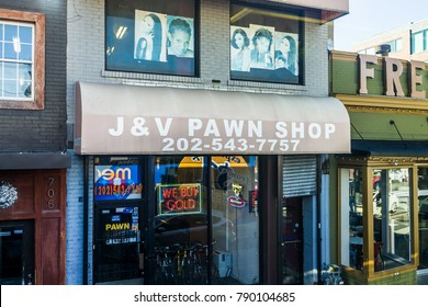 Washington DC, USA - October 27, 2017: J and V pawn shop store in H street northeast neighborhood in capital city