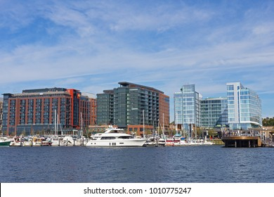 WASHINGTON DC, USA - OCTOBER 28, 2017: The Wharf in US capital after  three-year long project completed. District Wharf designed as broad promenade with new living, shopping and entertainment venues.