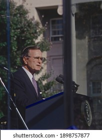 Washington DC, USA, October 30, 1989President George H.W. Bush delivers remarks at the groundbreaking ceremony for the National Police Officers Memorial