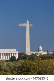 WASHINGTON, DC, USA - OCTOBER 31, 2017: Lincoln Memorial, Washington Monument, U.S. Capitol (L-R).