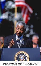 Washington, DC., USA, October 4,  1994 President Nelson Mandela of South Africa delivers his speech during official arrival ceremomies on the South Lawn at the White House.