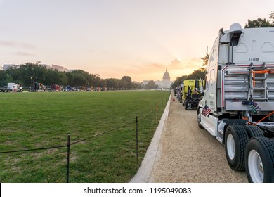 Washington, DC / USA - October 4, 2018: long-haul truckers have parked their rigs on the National Mall to protest what they believe is over-regulation of their industry by the federal government.