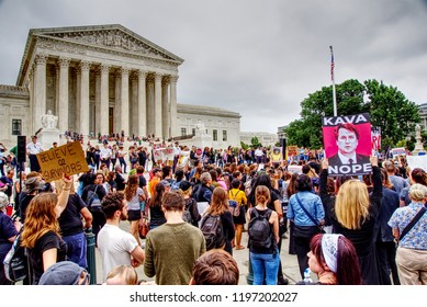 Washington, DC / USA - October 6, 2018: Protestors surround the US Supreme Court following the confirmation of Judge Brett Kavanaugh by the US Senate