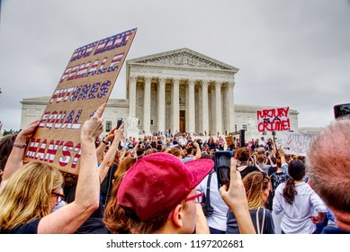 Washington, DC / USA - October 6, 2018: Swarms of protestors converge around the Supreme Court following news of Judge Brett Kavanaugh's confirmation by the US Senate