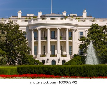 WASHINGTON, DC, USA - OCTOBER 7, 2008: The White House, south portico, balcony and columns.