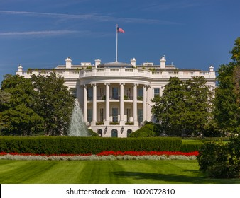 WASHINGTON, DC, USA - OCTOBER 7, 2008: The White House exterior, south lawn.