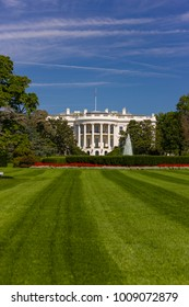 WASHINGTON, DC, USA - OCTOBER 7, 2008: The White House, south portico and south lawn.