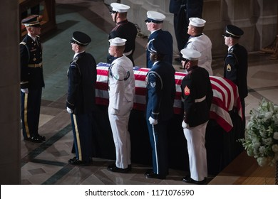 WASHINGTON D.C., USA - Sep. 01, 2018: Memorial service of U.S. Senator John McCain at National Cathedral in Washington, USA on September 1, 2018