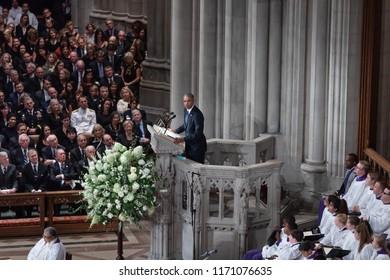 WASHINGTON D.C., USA - Sep. 01, 2018: Former U.S. President Barack Obama spoke at the Memorial service of U.S. Senator John McCain at National Cathedral in Washington, USA on September 1, 2018