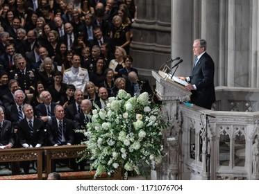 WASHINGTON D.C., USA - Sep. 01, 2018: Former U.S. President George Bush spoke at the Memorial service of U.S. Senator John McCain at National Cathedral in Washington, USA on September 1, 2018