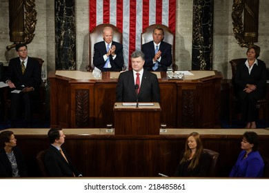 WASHINGTON D.C., USA - Sep 18, 2014: Speech by President of Ukraine Petro Poroshenko at the joint session of the Senate and House of Representatives in Washington, DC (USA)