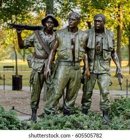 WASHINGTON DC, USA - SEP 24, 2015: Vietnam Veterans Memorial, Washington D.C.. Vietman War occurred in Vietnam, Laos, and Cambodia from 1955 to 1975