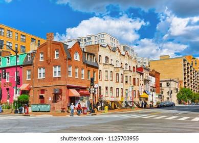 Washington, DC, USA - September 09,2017 : Urban cityscape of Washington, DC. Downtown district, Washington is capital of United States.