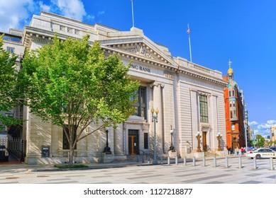 Washington, DC, USA - September 09,2017 : Building of the  Bank of America,1501 Pennsylvania Ave NWWashington, DC.