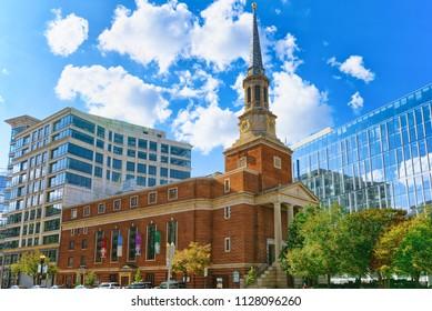 Washington, DC, USA - September 09,2017 : New York Avenue Presbyterian Church, urban cityscape of Washington, DC.