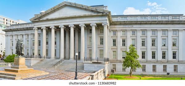 Washington, DC, USA - September 09,2017 : Facade US Treasury Department and Inspector General Office.