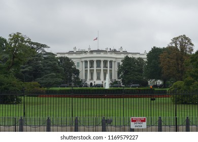 Washington, DC / USA - September 1, 2018: the President's motorcade is readied to take the President to a golf course while Senator McCain's funeral is happening.